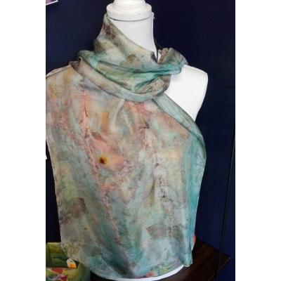 Zijden sjaal, ecoprint