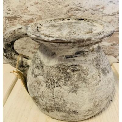 kruik kandelaar steen wit/grijs