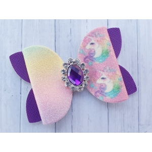 Grote strik regenboog glitter unicorn met paarse steen 7,5 x 5 cm op alligator clip