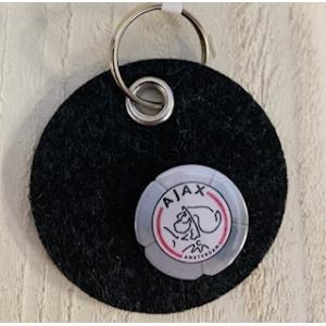 Ajax sleutel hanger 5 cm kunstof  afbeelding op vilt