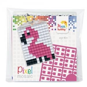 Sleutelhanger set Pixel hobby, flamingo