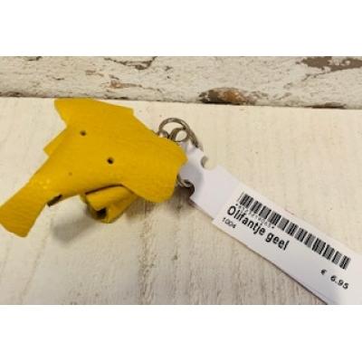 sleutelhanger olifant geel leer handgemaakt