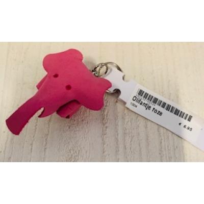 sleutelhanger olifant roze leer handgemaakt