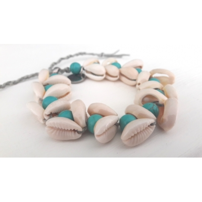 Armband Cowry and Turquoise