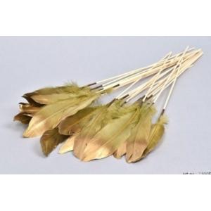 Feather op stok – set van 6 – Green/Gold – 30 cm