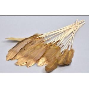 Feather op stok – set van 6 stuks – mustard/gold – 30 cm