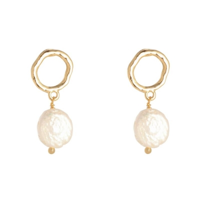 Shiny Pearls Earrings Gold